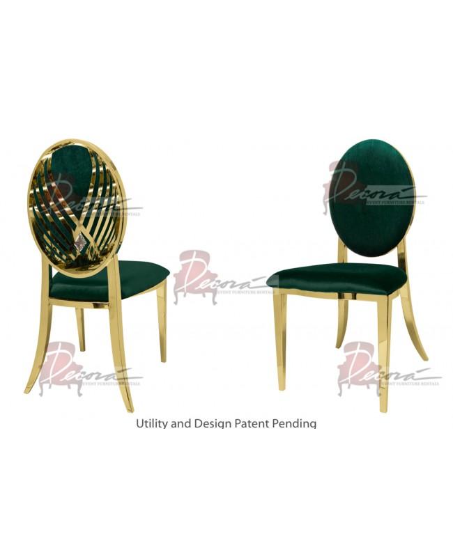 Crystal Swan Chair (Gold-Emerald)