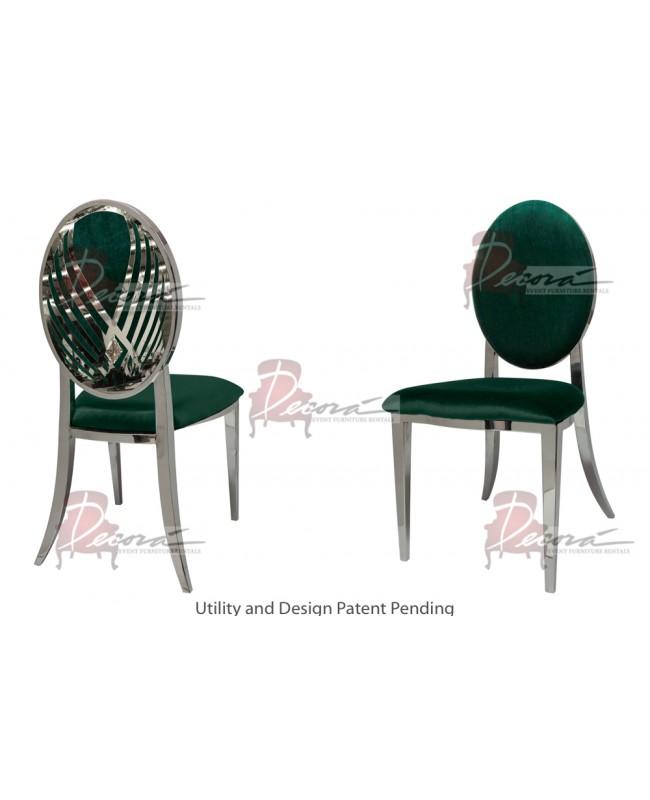 Crystal Swan Chair (Silver-Emerald)