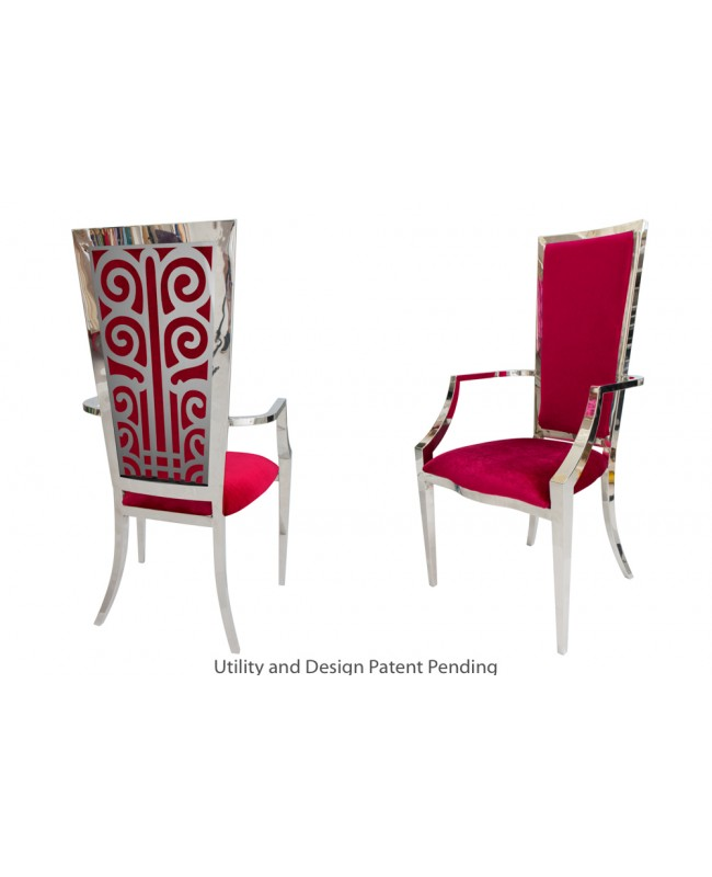 Valentino Armchair (Silver-Red)