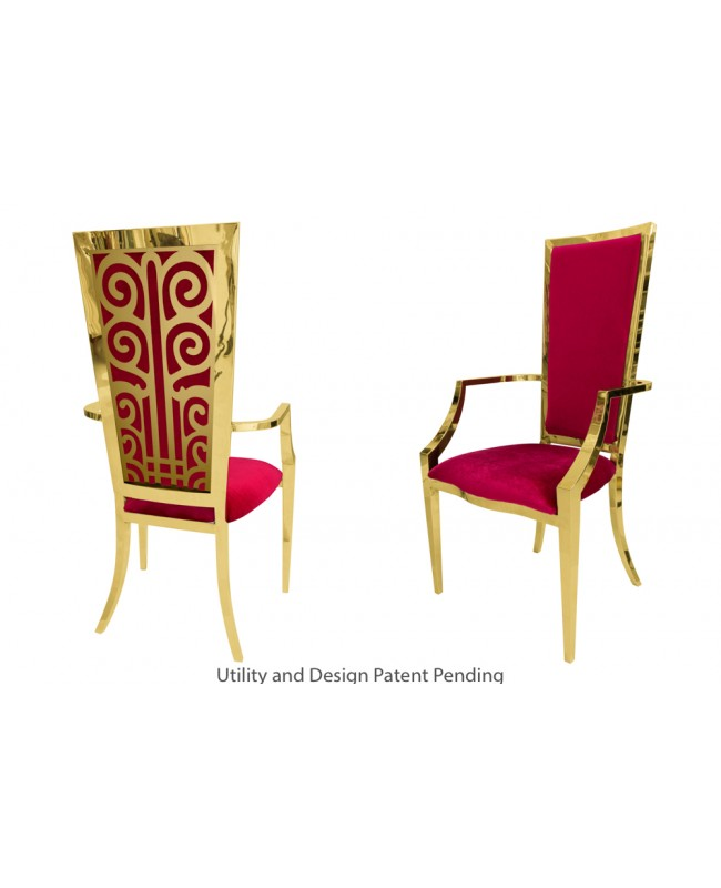 Valentino Armchair (Gold-Red)