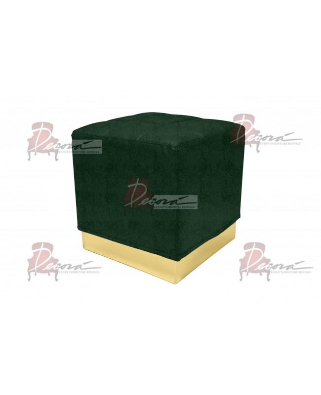 Velvet Modern Line Ottoman (Gold) (Emerald)