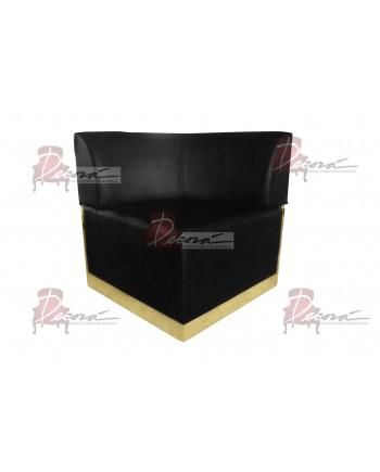 Velvet Modern Line Corner Chair (Black) (Gold)