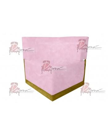 Velvet Modern Line Corner Chair (Pink) (Gold)