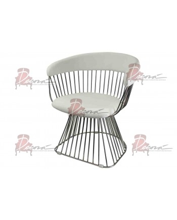 Reflection Accent ArmChair (Art Deco) (Silver-White)