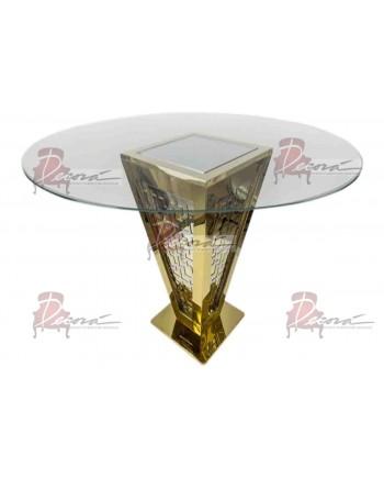 "Reflection Highboy Table Pyramid (Gold) 72"" D"