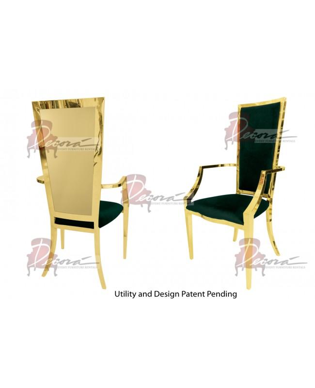 Reflection Armchair Rectangular (Gold-Emerald)