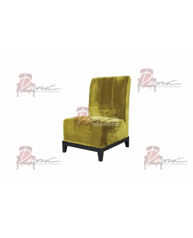 Velvet Chair (Armless with Lines) (Olive)