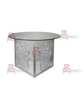 "Mirror Dining Table Dior 48"" D"