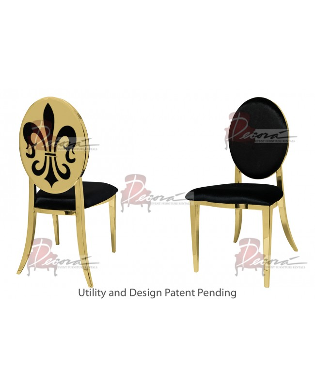 Fleur-de-lis Chair (Gold-Black)