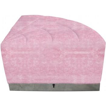Velvet Modern Line 1/4 Ottoman (Pink) (Silver)