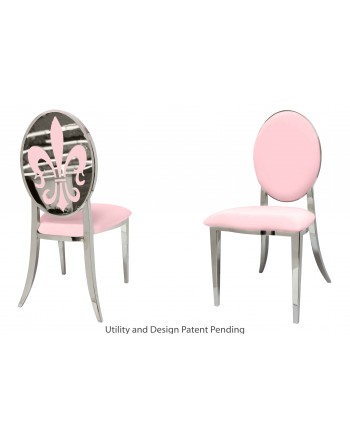 Fleur-de-lis Chair (Silver-Pink)