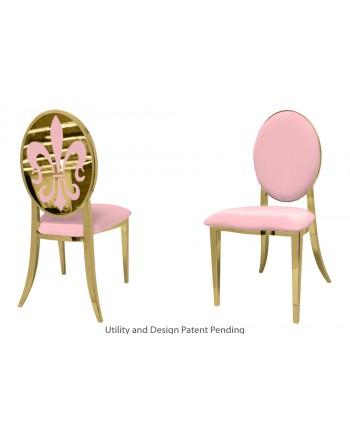 Fleur-de-lis Chair (Gold-Pink)