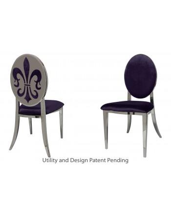Fleur-de-lis Chair (Silver-Eggplant)