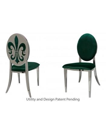 Fleur-de-lis Chair (Silver-Emerald)