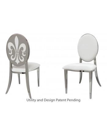 Fleur-de-lis Chair (Silver-White)