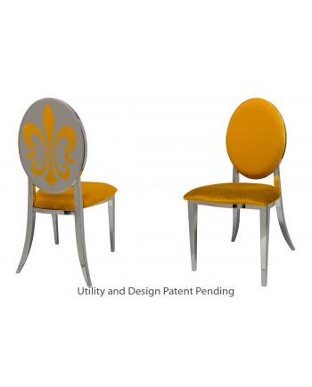 Fleur-de-lis Chair (Silver-Yellow)
