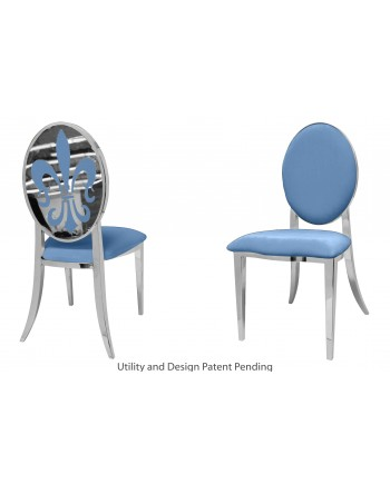 Fleur-de-lis Chair (Silver-Blue)