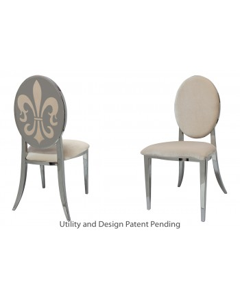 Fleur-de-lis Chair (Silver-Champagne)