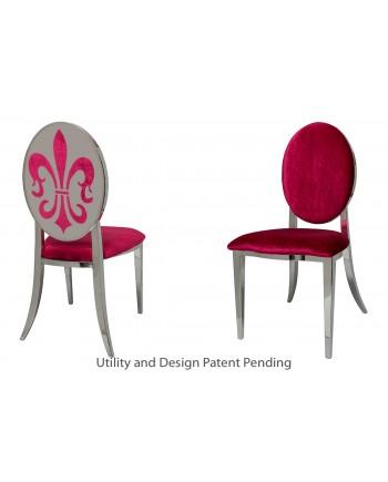 Fleur-de-lis Chair (Silver-Red)