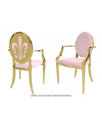 Fleur-de-lis Armchair (Gold-Pink)