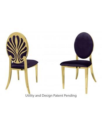 Nouveau Shell Chair (Gold-Eggplant)