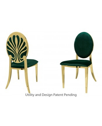 Nouveau Shell Chair (Gold-Emerald)
