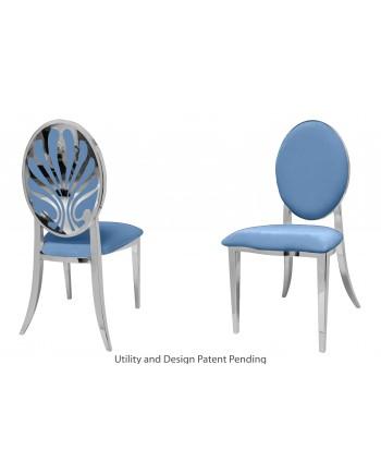Nouveau Shell Chair (Silver-Blue)