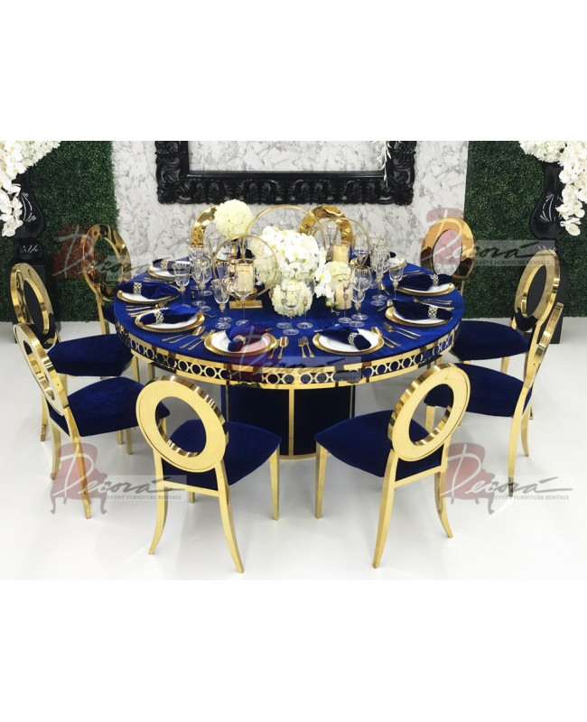 Velvet Dining Table Round Circle (Silver Frame)(Yellow)