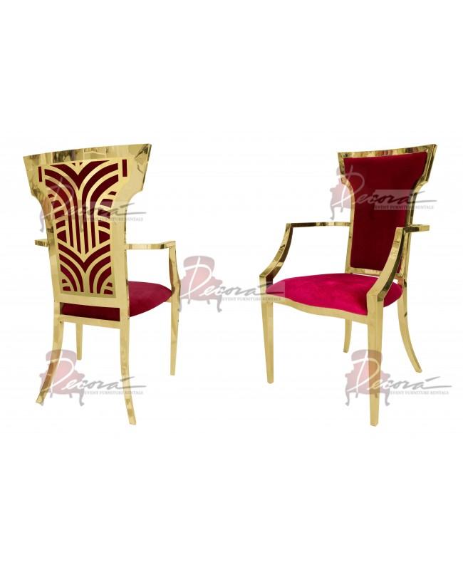 Rockefeller Armchair (Gold-Red)