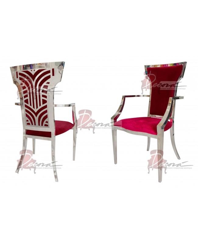 Rockefeller Armchair (Silver-Red)