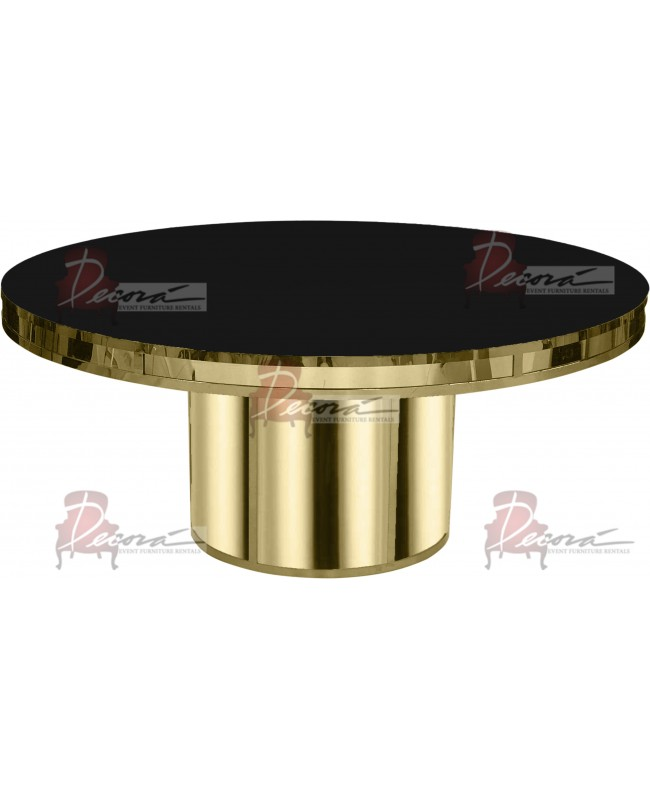 Reflection Dining Table Round (Gold) (Black Top)