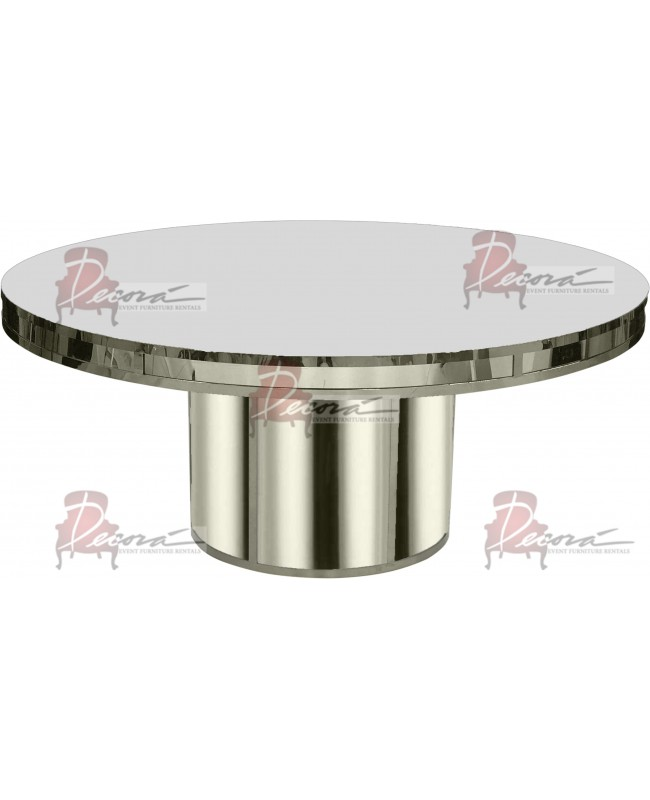 Reflection Dining Table Round (Silver) (White Top)