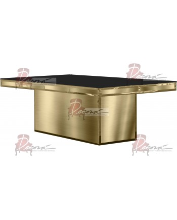 "Reflection Dining Table (Gold) (Black Top) 96"" x 48"""