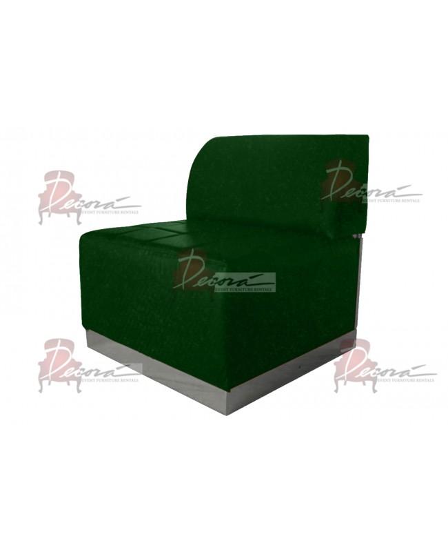Velvet Modern Line Armless Chair (Emerald) (Silver)