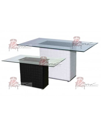 Contemporary Dining Table Cube (Glass Top)