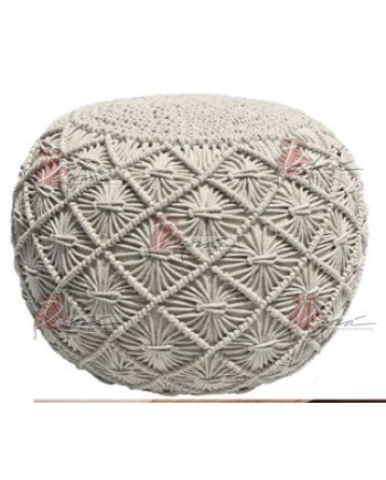 Pouf Ottoman Hand Knitted Cable Style
