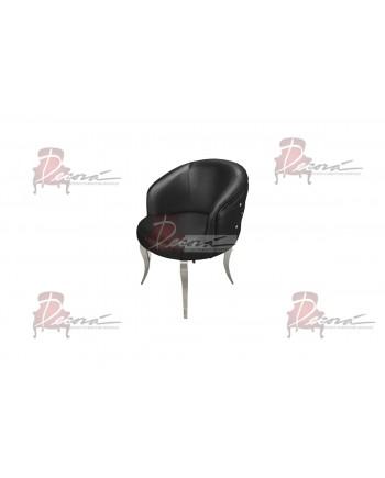 Glitz Lounge Armchair (Black)(Silver Legs)
