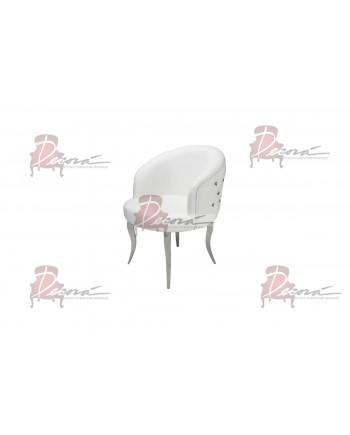 Glitz Lounge ArmChair (White) (Silver Legs)