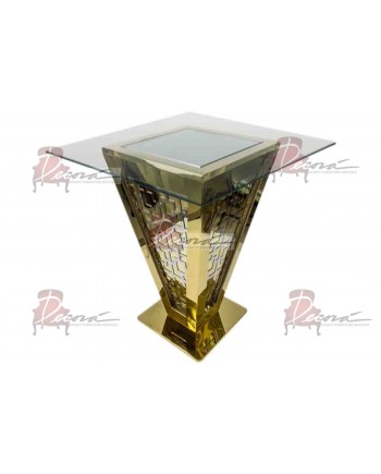 "Reflection Highboy Table Pyramid (Gold) 48"" x 48"""