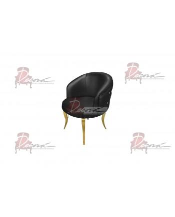 Glitz Lounge Armchair (Black)(Gold Legs)