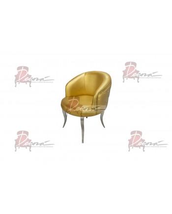 Glitz Lounge Armchair (Gold)(Silver Legs)
