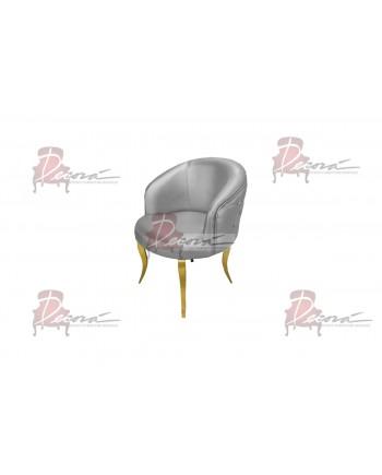 Glitz Lounge ArmChair (Silver) (Gold Legs)