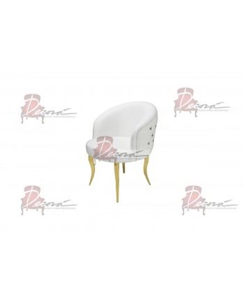 Glitz Lounge ArmChair (White) (Gold Legs)