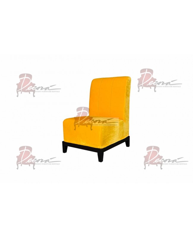Velvet Chair (Armless with Lines) (Yellow)