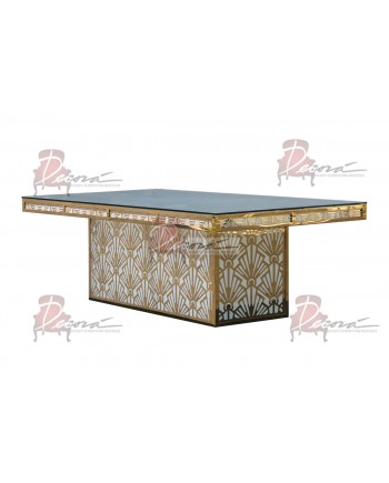 "Reflection Dining Table (Gatsby-Base) (Gold) 96"" x 48"""