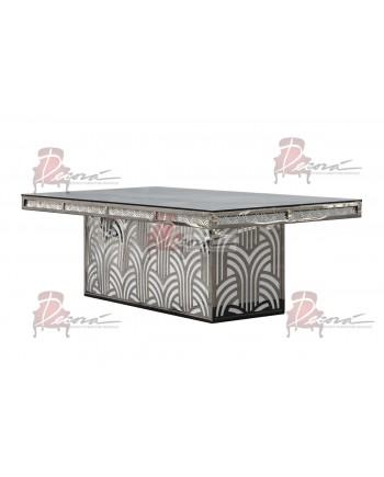 "Reflection Dining Table (Artdeco-Base) (Silver) 96"" x 48"""