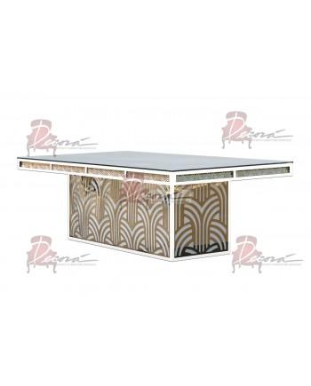 """Reflection Dining Table (Artdeco-Base) (White) 96"""" x 48"""""""