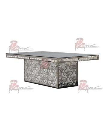 "Reflection Dining Table (Gatsby-Base) (Silver) 96"" x 48"""