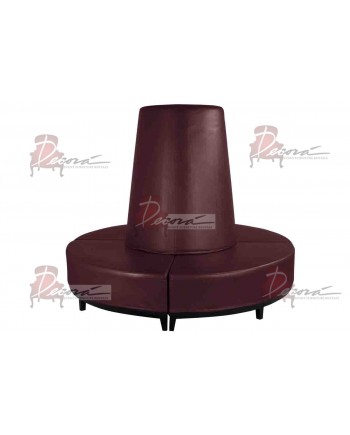 Contemporary Banquette (Round) (Burgundy)