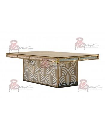 "Reflection Dining Table (Artdeco-Base) (Gold) 96"" x 48"""